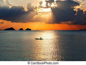 napnyugta, képben látható, a, tenger