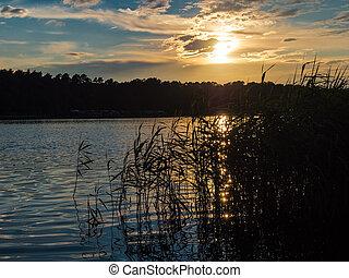 napnyugta, képben látható, egy, lake.