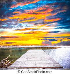 napnyugta, képben látható, egy, tó