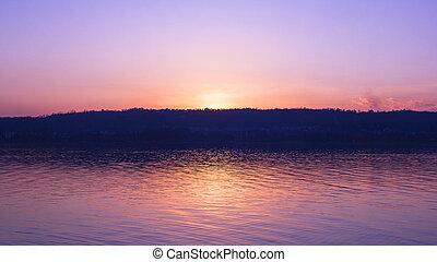 napnyugta, képben látható, egy, tó part