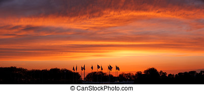 napnyugta, képben látható, lobogó, köztér, szabadság megállapít dísztér, új, jersey., panoramic.