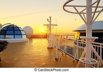 napnyugta, kilátás, alapján, a, fedélzet, közül, egy, cirkálás, ship.