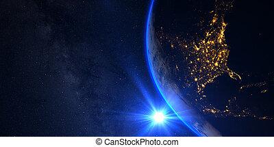 napnyugta, kilátás, közül, földdel feltölt