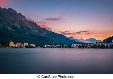 napnyugta, moritz, tó, felül, swiss alps, svájc, szt.