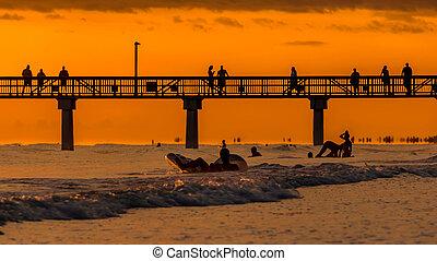 napnyugta, myers, tengerpart, erőd