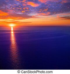 napnyugta, napkelte, felett, földközi-tenger