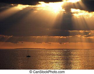 napnyugta, noha, hajó