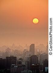 napnyugta, város, táj