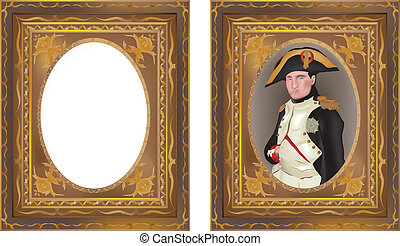 Vector illustration of Napoleon Bonaparte in beautiful frame and isolated frame without content