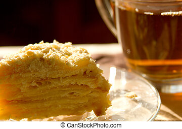 napoleon cake and a cup