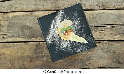 Napoleon cake on wooden background. French dessert top view.