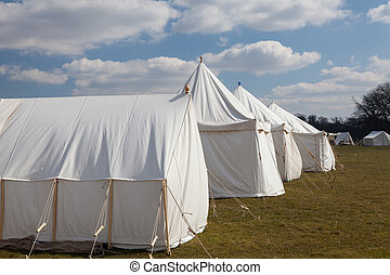 napoleonic, krig, vit, militär, camping, tält
