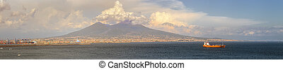 Napoli and mount Vesuvius at sunset in a summer day - Napoli...