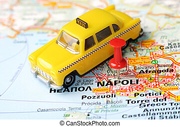 Napoli Italy map taxi - Close up of Napoli , Italy map with ...