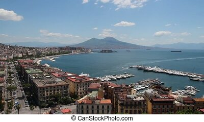 view of the Gulf in Naples with the Egg Castle and Mount Vesuvius