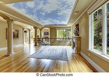 nappali, épület, fényűzés, interior., üres