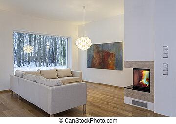 nappali, -, belső rajzoló, lakályos