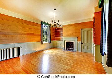 nappali, cabinets., fából való, built-in, fényes, belső, kandalló, üres