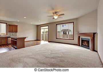 nappali, emelet, nagy, belső, fireplace., üres, szőnyeg