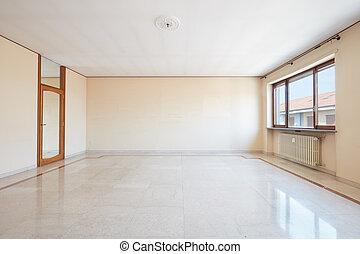 nappali, emelet, nagy, belső, márvány, üres