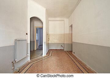 nappali, emelet, terület, cserép, belső, üres, konyha