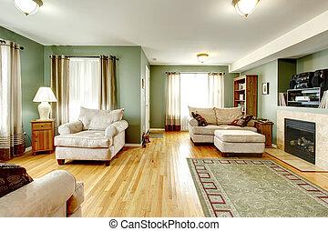 nappali, fénykép, fekete, fehér, fireplace.