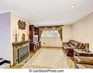 nappali, furniture., megkorbácsol, szüret, pamlag, fényűzés
