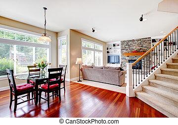 nappali, hardwood., cseresznye, lépcsőház, nagy, étkező