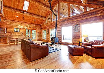 nappali, megkorbácsol, sofa., fényűzés, fülke, fahasáb