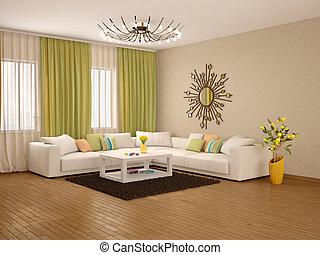 nappali, modern, ábra, befest, meleg, belső, 3