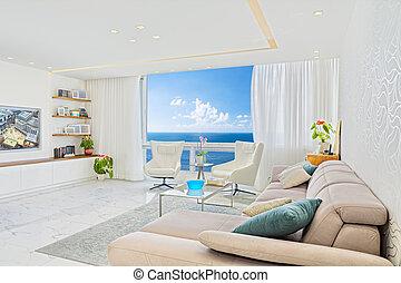 nappali, modern, ablak, tervezés, fényűzés, tenger, belső kilátás