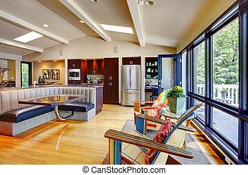 nappali, modern, kitchen., fényűzés, belső, otthon, nyílik