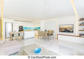 nappali, modern, tervezés, fényűzés, belső, konyha
