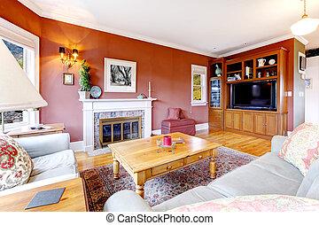 nappali, nagy, közfal, fireplace., piros, kedves