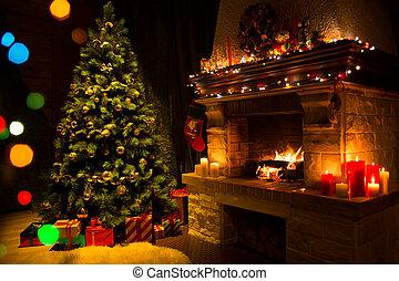 nappali, noha, kandalló, és, díszes, karácsonyfa