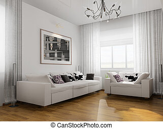 Render., nappali, modern, furniture., 3 rajz - Clipart ...