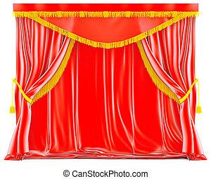 nappe, tenda, velluto, rosso, dorato