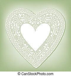 napperon, coeur, vert, dentelle, pastel
