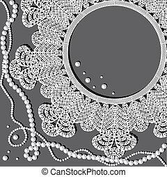 napperon, collier perle, crochet
