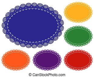 napperon, couleurs, bijou, placemats, dentelle
