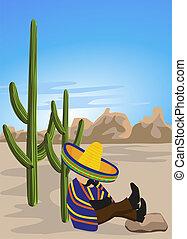 napping, messicano, deserto