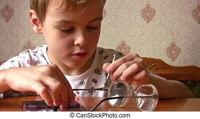naprawa, dziecko, okulary