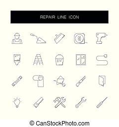 naprawa, pack., ikony, kreska, set.