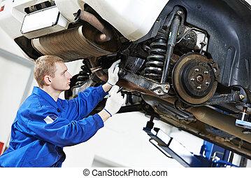 naprawa, wóz, praca, mechanik, auto, zawieszenie