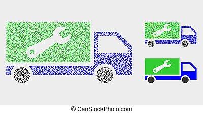 naprawa, wektor, ciężarówka, kropka, ikony