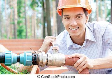 naprawiając, rura, pracownik, młody