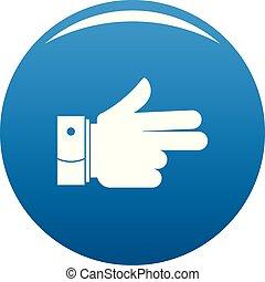 naprzód, błękitny, wektor, ręka, ikona