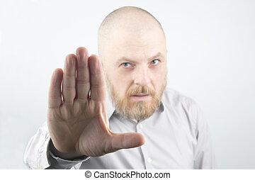 naprzód, otwarty, człowiek, ciągnący, ręka
