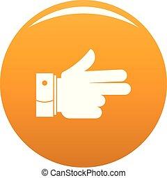 naprzód, pomarańcza, wektor, ręka, ikona