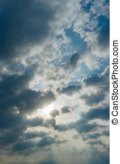 napsugarak, meglepő, át, a, elhomályosul, képben látható, kék ég